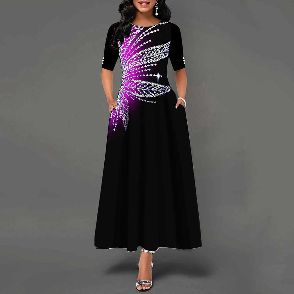 ТРАПЕЦИЕВИДНОЕ Вечерние Платье макси с принтом, женские ретро платья с коротким рукавом 2020, горячая распродажа, африканская мода, винтажное платье для выпускного вечера