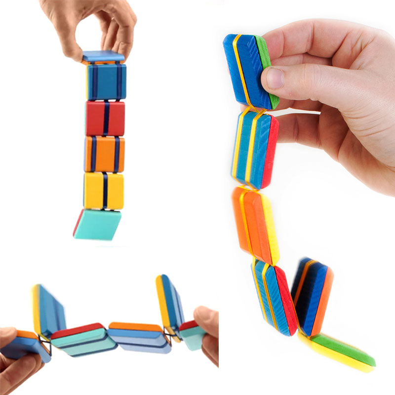 2021 New Flipo Flip Colorful Flap Wooden Ladder Change Visual Illusion Novelty Decompression Children's Fidget Toy Gift