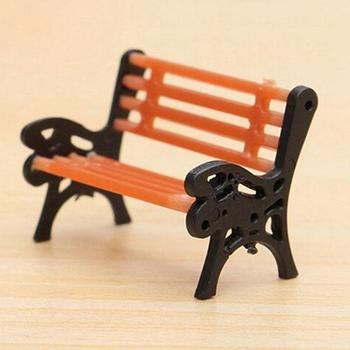 Mini Garden Ornament Miniature Park Bench Craft DIY House Decor Bench Model Home Decoration Resin Embellishments image