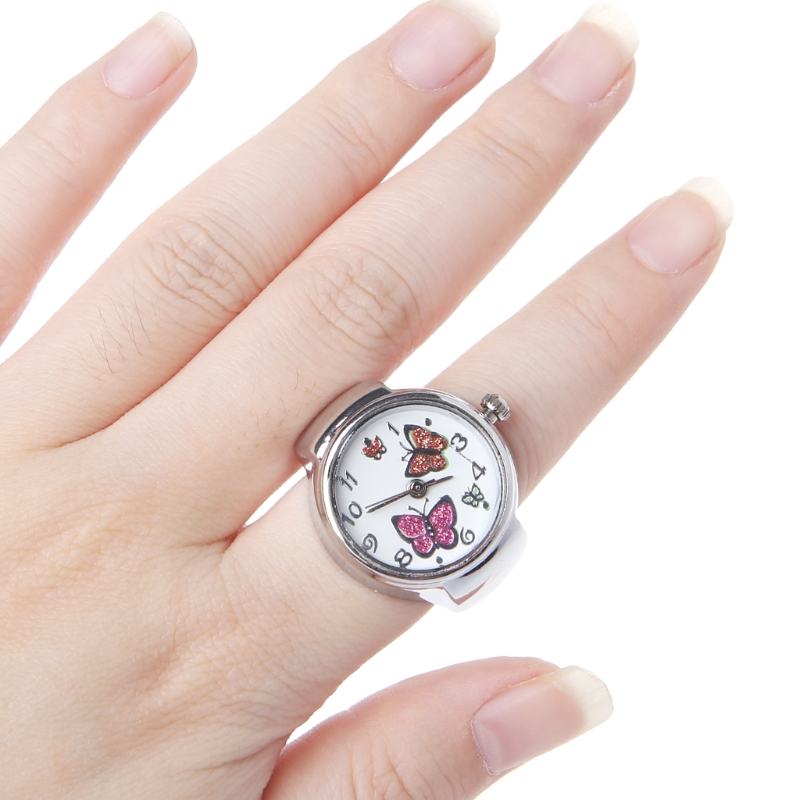 Women Dial Quartz Analog Finger Ring Watch Butterfly Elastic Gift Creative Steel
