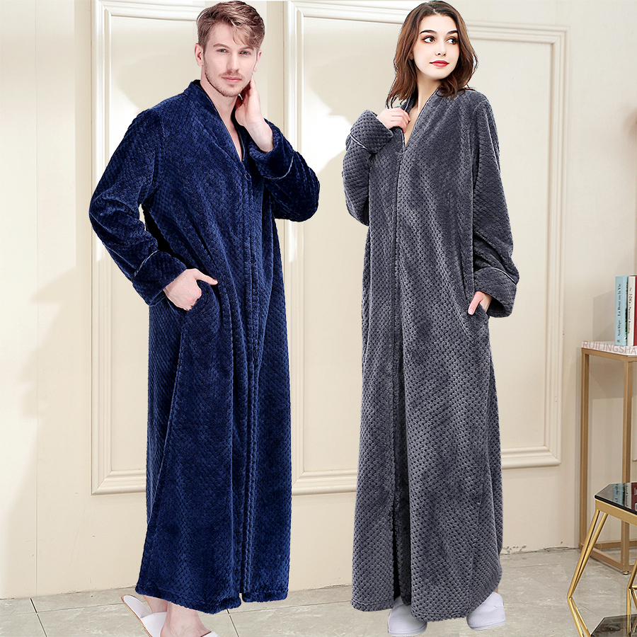 Men Winter Plus Size Long Warm Coral Fleece Bathrobe Hooded Cozy Flannel Zipper Bath Robe Night Dressing Gown Women Sleepwear