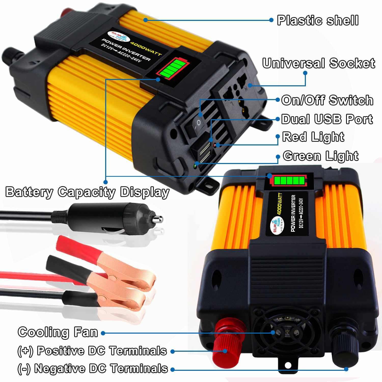 מהפך 1000W 12V כדי 110/220V מתח שנאי שונה סינוס כוח מהפך DC12V כדי AC 110 v/220 V ממיר + 2 USB