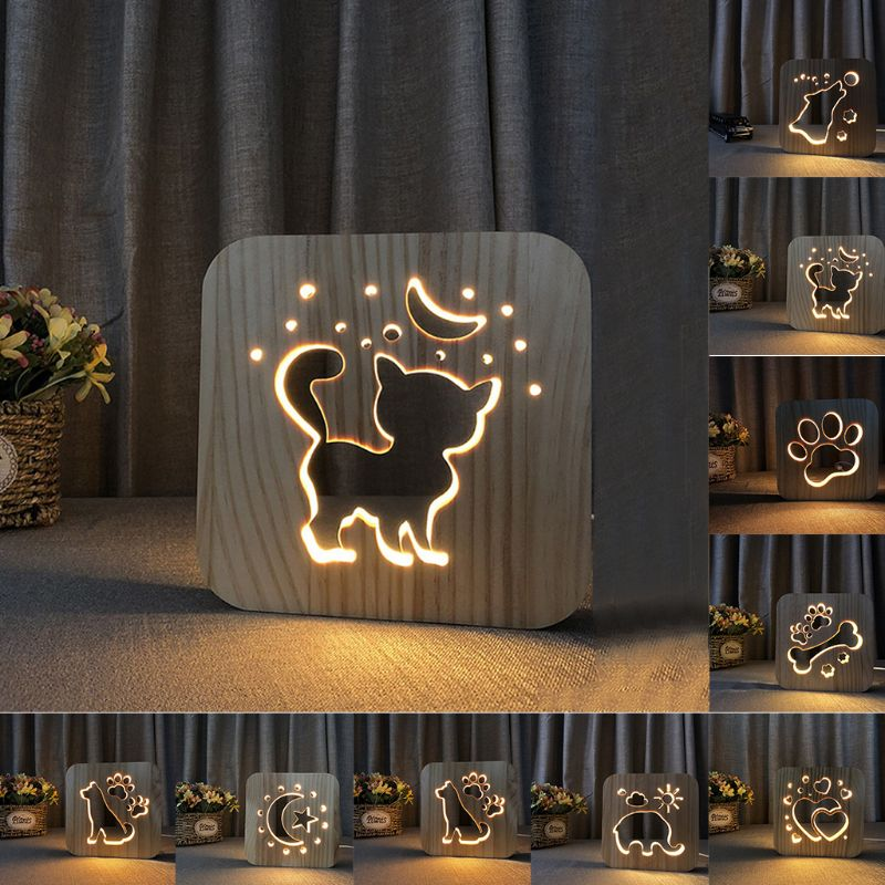 Wooden Cat Paw Dog Animal Night Light Moon Star 3D LED Lamp USB Powered Desk Lights For Baby Christmas New Year Gift