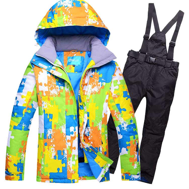 スキースーツ男性の冬暖かい防風防水屋外スポーツジャケットとパンツスキー用具スノーボードジャケットの男性ブランド