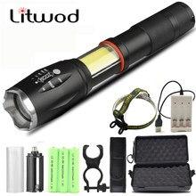 Bombilla de linterna XM-L2 U3 T6 COB para caza, ciclismo, Camping, Led, 18650 o AAA, batería, Zoom, resistente al agua