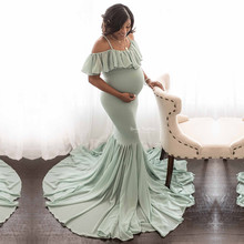 Mermaid Maternity Dresses For Photo Shoot Pregnant Women Ruffles Pregnancy Dress Photography Props Off Shoulder Maxi Maternity