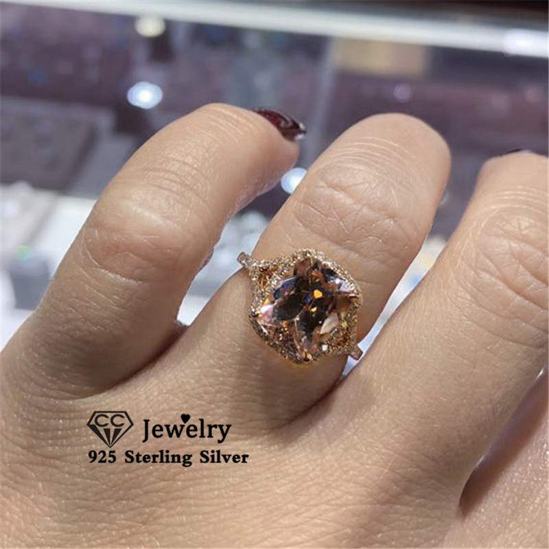 CC Rings For Women S925 Silver Vintage Fine Jewelry Cubic Zirconia Rectangle Rose Gold Color Champagne Ring Drop Shipping CC3142