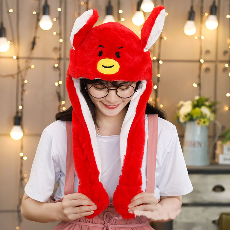 Moving Hat Rabbit Ear Plush Airbag Cap Mickey Minnie Mouse Spiderman Lighted Gift Santa Claus Iron Man Doll Toy Cosplay Hat