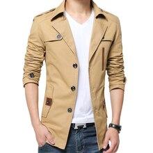 Mens autumn windbreaker jacket long fashion classic khaki urban casual Korean version of the lapel
