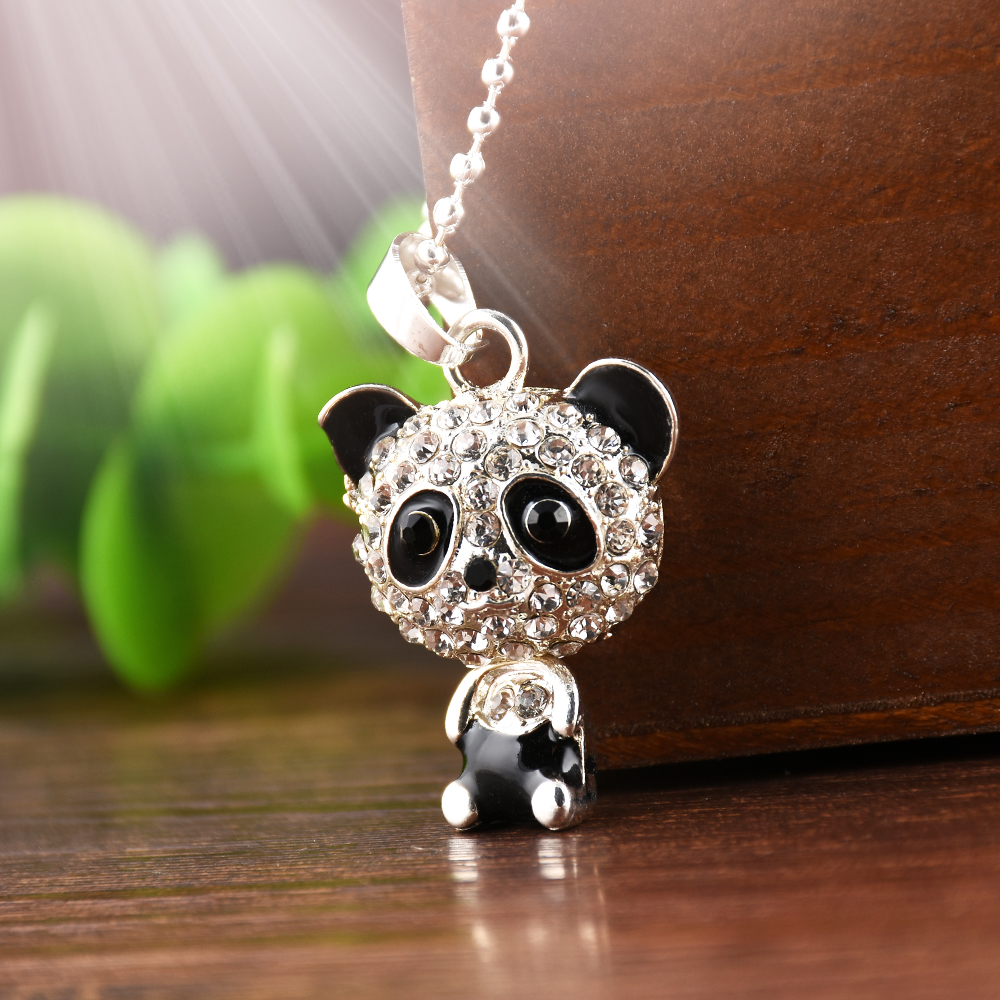 2020 New Fashion Pretty Enamel Rhinestone Panda Pendant Necklace Women Crystal Accessories Sweater Necklaces Jewelry 50cm