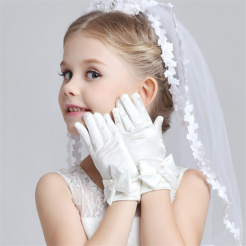 Kid Girl Cute White Wedding Gloves Bowknot Princess Gentle Formal Party Gloves Flower Girls