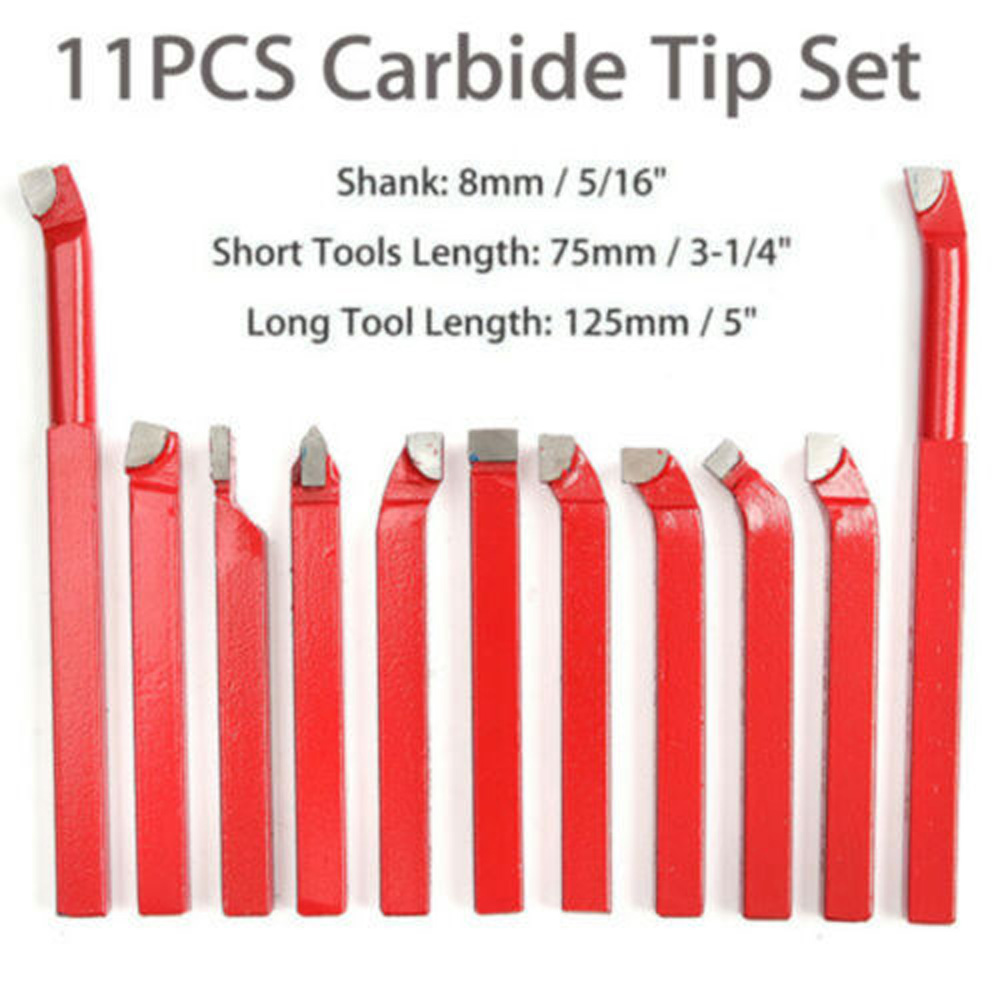 11pcs Set Carbide <font><b>8</b></font> X <font><b>8</b></font> <font><b>Mm</b></font> Carbide Tip Tipped <font><b>Cutter</b></font> Tool Bit Cutting For Metal Lathe Tools image