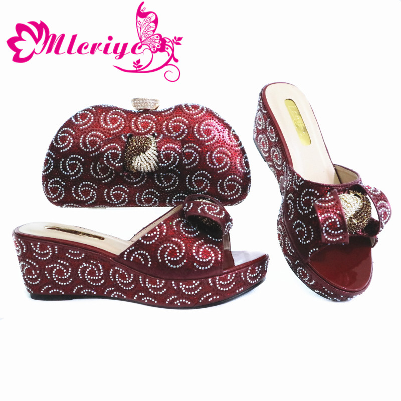 2020 New Design Wine Color Fashion Rhinestone Woman Shoes And Matching Bag Set African Style Pumps for Party