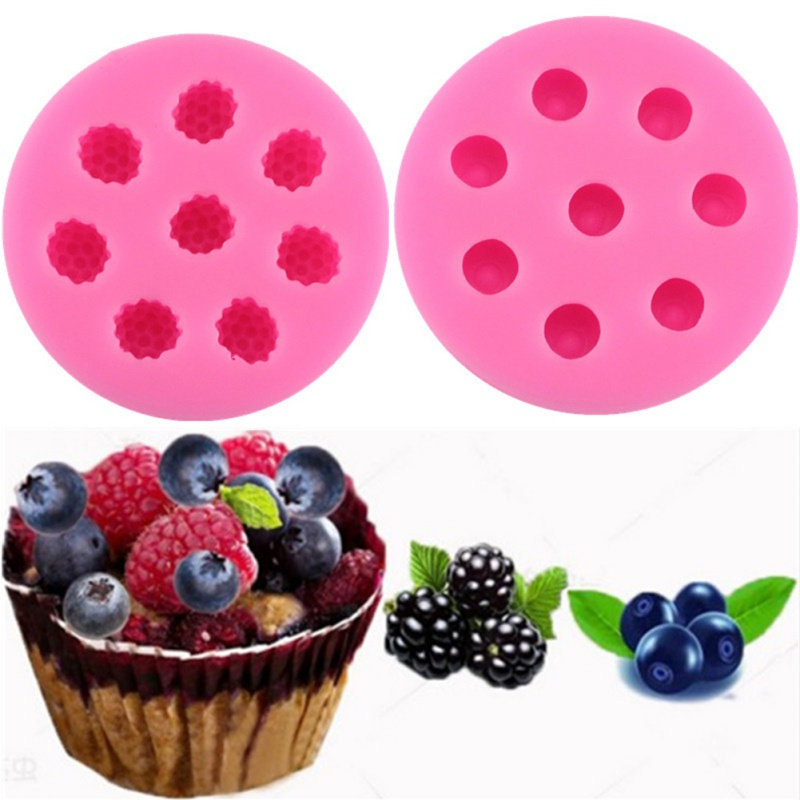 Cake Silicone Mould Pastry 3D Fruits Shape Chocolate Soap Mold Candle Mold Blueberry Raspberry Macaron Leaf Strawberry Shaped