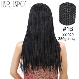 Image 4 - 22inch Long Box Braid Wig Black and Brown Synthetic Micro Twist Braid Wigs Hair for African Women Hair Expo City