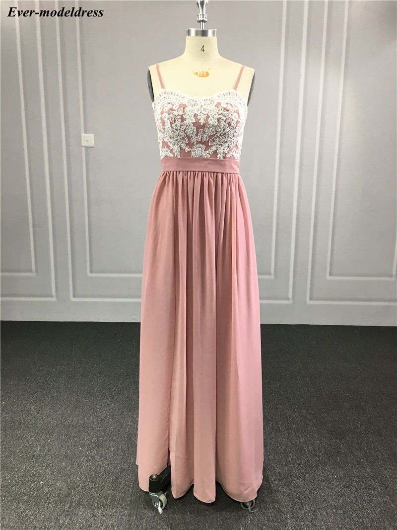 2020 Blush Pink Long Bridesmaid Dresses High Side Split Spaghetti A-Line Appliques Chiffon Wedding Guest Dress Prom Party Gowns