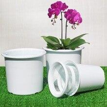 Vasos de orquídea de plástico de meshpot 16cm com furos de controle de raiz de ar buraco plantador pote interno, pote exterior, bandeja