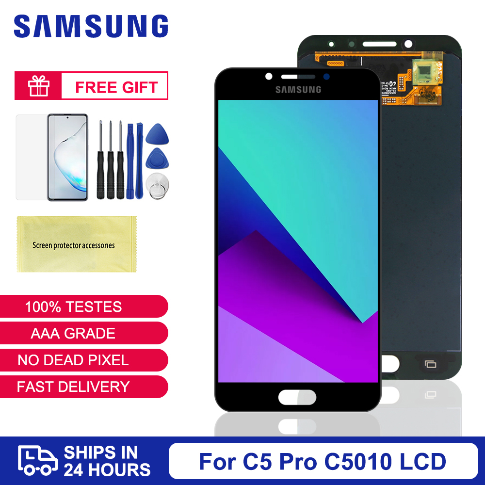 Original Super AMOLED Display <font><b>For</b></font> <font><b>Samsung</b></font> <font><b>Galaxy</b></font> <font><b>C5</b></font> <font><b>pro</b></font> C5010 <font><b>LCD</b></font> Display Touch <font><b>Screen</b></font> Digitizer Assembly Replacement Part image