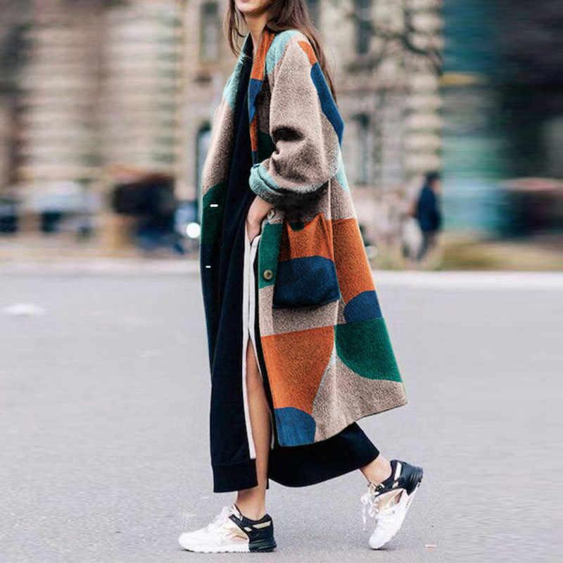 Mieszanka płaszcz kurtka moda druku Colorblock kolor wzór długi kurtka płaszcz zimowy kobiety wełniany płaszcz damski Ms luźne gorąca sprzedaż wiosna