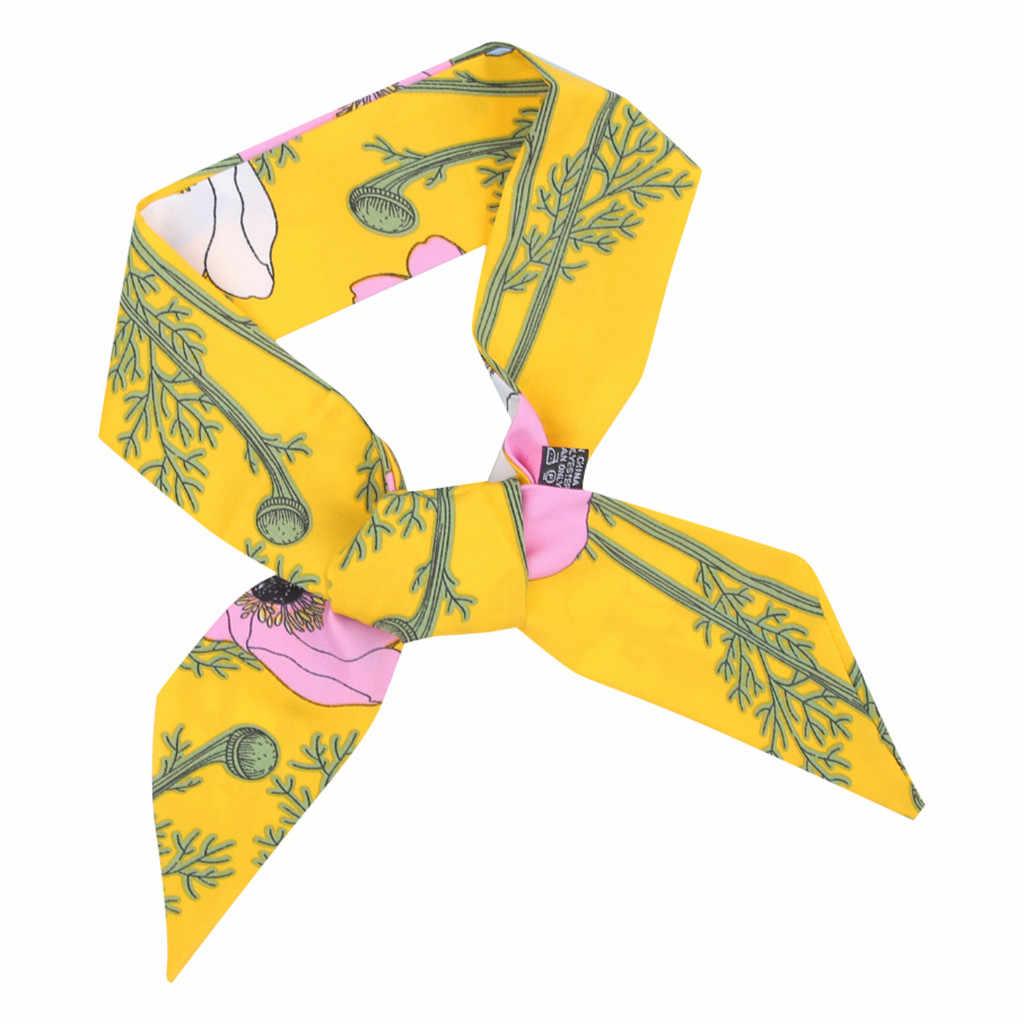 ヨーロッパレディースイミテーションシルク髪のロープヴィンテージフローラルプリントポニーテールホルダーリボンちょう結びスカーフバンダナ Scrunchies