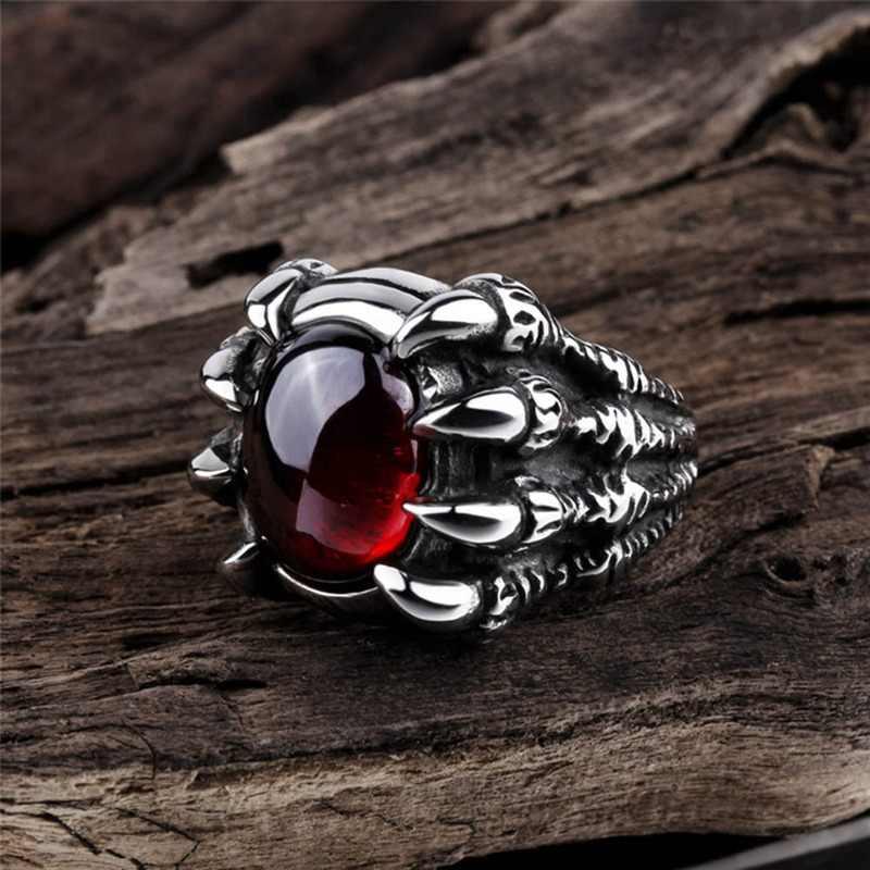 ドラゴン爪レトロパンクゴスビッグ黒、赤石男性の合金鋳造リングゴシックパンク男性ビジュー男性のビッグ石リング宝石赤