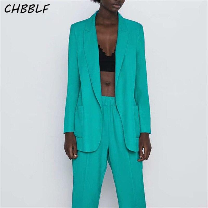 CHBBLF Women Basic Solid Blazer Notched Collar Long Sleeve Pockets Jacket Female Stylish Outwear Tops XDL2240