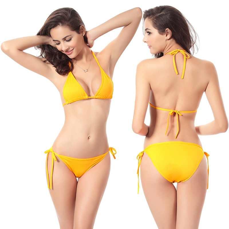 Baru Sexy Bikini Set Padded Bra Wanita Push-Up Segitiga Padat Baju Renang Perban Baju Baju Renang 2Pcs Renang suit