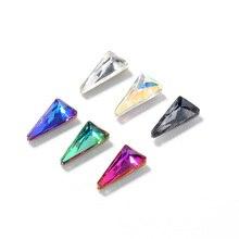 цены HNUIX 10pcs 3D Triangle Holo Nail Art Decorations Sets Glitter Shiny Nail Stone DIY Manicure Crystal Nail Rhinestone Accessory