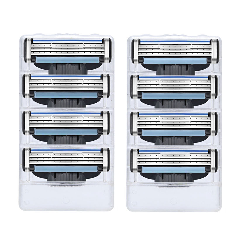 8Pcs/lot 3 Layer Razor Blades For Mache 3 Men Gile Face Shaver Blades Proglide  Beard Shaving Blades Refill Cartridge Gilleteet