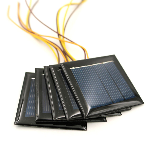 5pcs/lot 2V 100mA with 15cm extend wire Solar panel Solar cells Epoxy Polycrystalline Silicon DIY Battery Power Charger Module