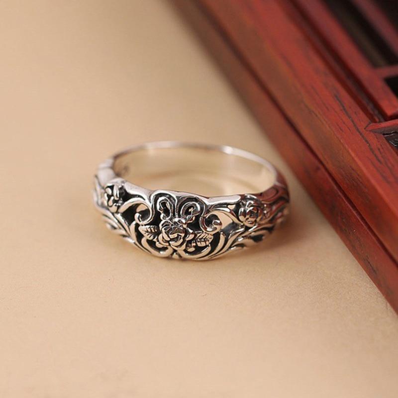 Старинное серебряное кольцо для женщин, цветок розы, резное модное ювелирное изделие, женские кольца, винтажные Свадебные обручальные кольца, подарок для девушек DBR002