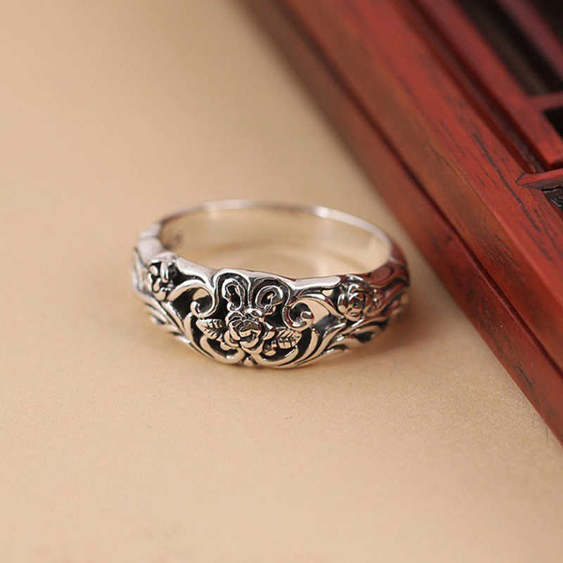 Antique Silver Ring for Women  Rose Flower Carved Fashion Jewelry Female Rings Vintage Wedding Engagement Girl Gift DBR002
