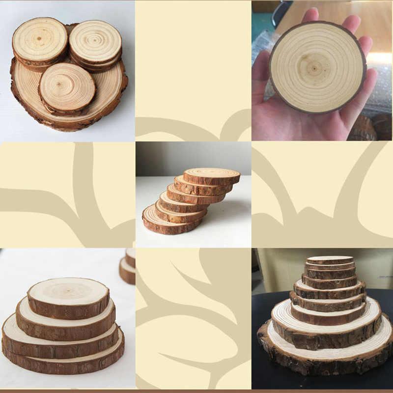 1 PC/5 Buah Pinus Alami Bulat Kayu Yang Belum Selesai Irisan Lingkaran dengan Kulit Pohon Log Cakram DIY Kerajinan Pernikahan pesta Lukisan