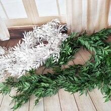 190 ซม.งานแต่งงานตกแต่งfake VINE PlantใบGarlandบ้านสวนกำแพงEucalyptus fauxพืชปลอม