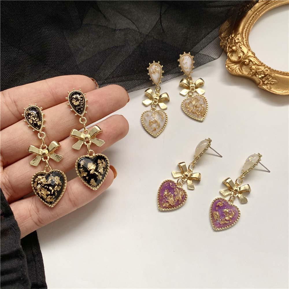 Женские серьги-гвоздики в форме сердца с бантом, в корейском классическом стиле, золотистого персикового цвета, ювелирное изделие, подарок ...