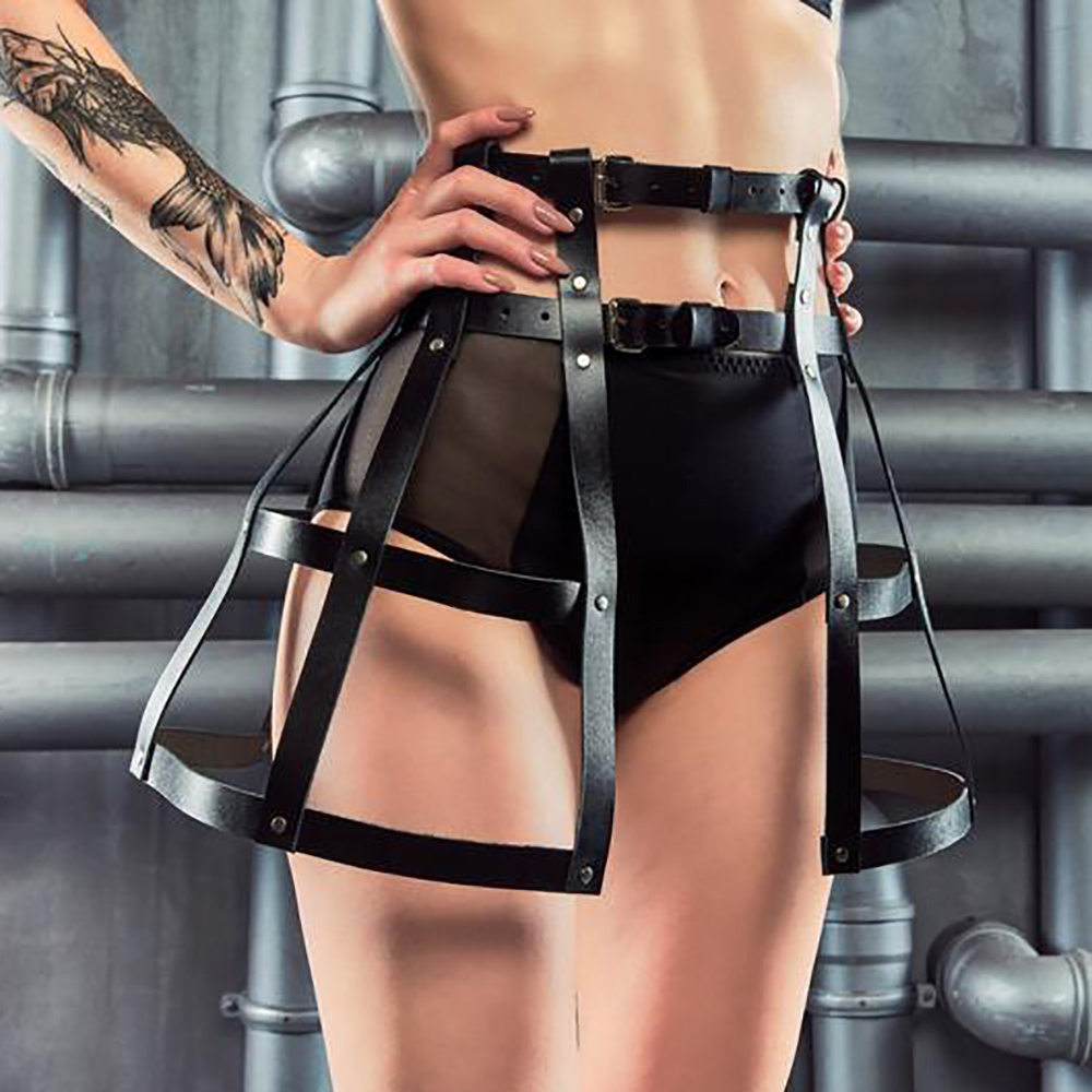 WKY Sexy Dress Leather Dress Belt Harness Clubwear Punk Goth Dress Stripper Clothes Sexy Lingerie Erotic Body Bondage Garters