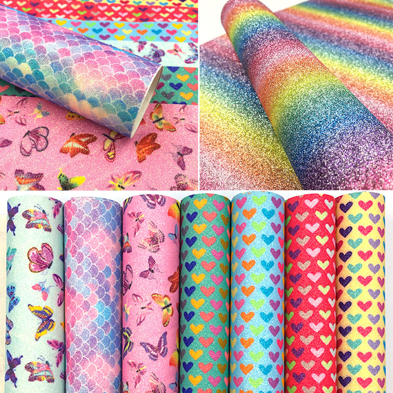 1pc 20cm*15cm Synthetic Faux Leather Sheets Chunky Glitter Hair Bow Fabric Material DIY Crafts Wedding Decoration Accessories