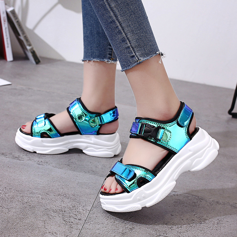 Women Laser Wedge Sandals Hollow Out Sexy Open-toed Women Sandals Outdoor Comfortable Casual Beach Cool Summer Platform Shoes