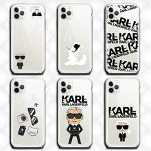 Dos desenhos animados lagerfeld marca designer karls telefone caso claro para o iphone 12 11 pro max mini xs 8 7 6s plus x 5S se 2020 xr capa