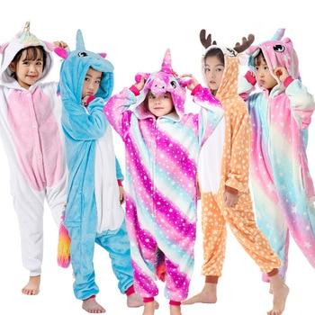 الفانيلا Kigurumi بيجامات أطفال مجموعة الشتاء مقنعين الحيوان يونيكورن النمر الثعلب بيجامات للأطفال للبنين بنات ملابس خاصة Onesies