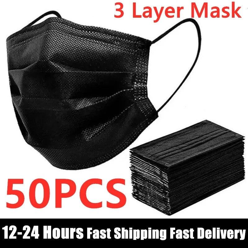 В наличии 10/50 шт маска одноразовая маска для лица Черный Nonwove 3 слоя маска для полости рта фильтр против пыли дышащие защитные маски для взрос...