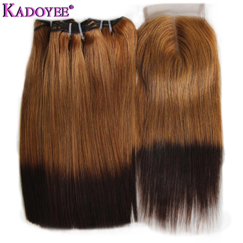 27/4 Ombre Straight Brazilian Hair Weave Bundles Double Drawn Funmi Fumi Human Hair Bundles With Closure 3+1 Bunldes Full Head
