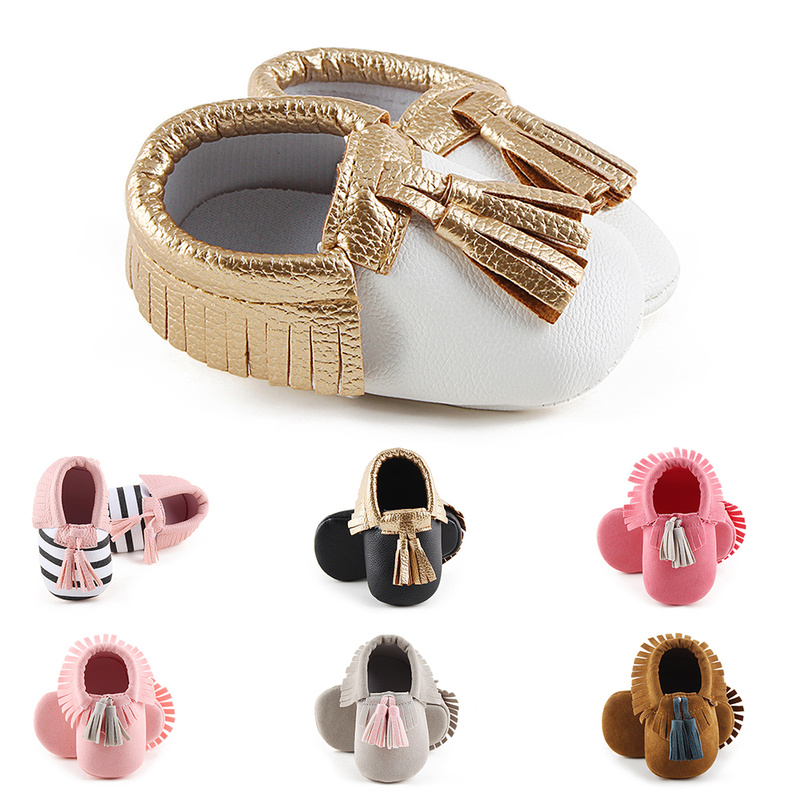 Baby Shoes Newborn Infant Boy Girl First Walker PU Sofe Sole Princess Mixcolor Fringe Toddler Baby Crib Shoes Casual Moccasins