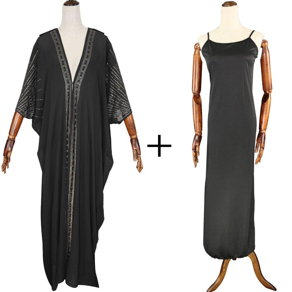 Длина 140 см, красная африканская одежда, африканские платья для женщин, мусульманское длинное платье, высокое качество, длина, модное Африканское платье для леди - Цвет: Black 2pcs set