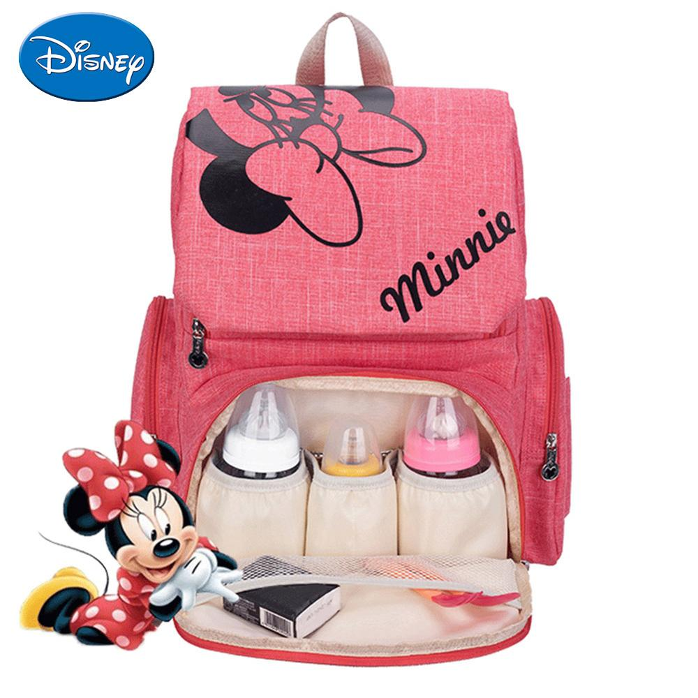 Image 4 - Disney Maternity Diaper Bag Cute Minnie Mickey Printed Mommy Backpacks Large Capacity Baby Stroller Nursing Nappy Storage Bag-in Diaper Bags from Mother & Kids