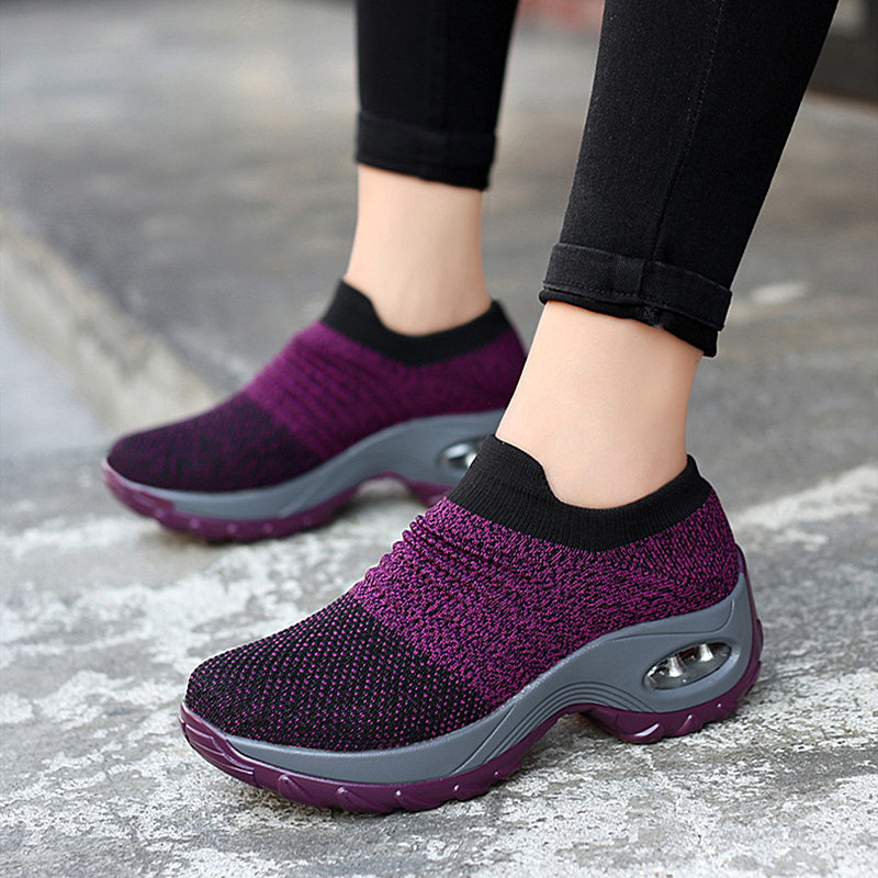 2020 women sneakers fashion casual shoes platform sneakers for women black breathable mesh sock sneakers Tenis Feminino 35-42 title=