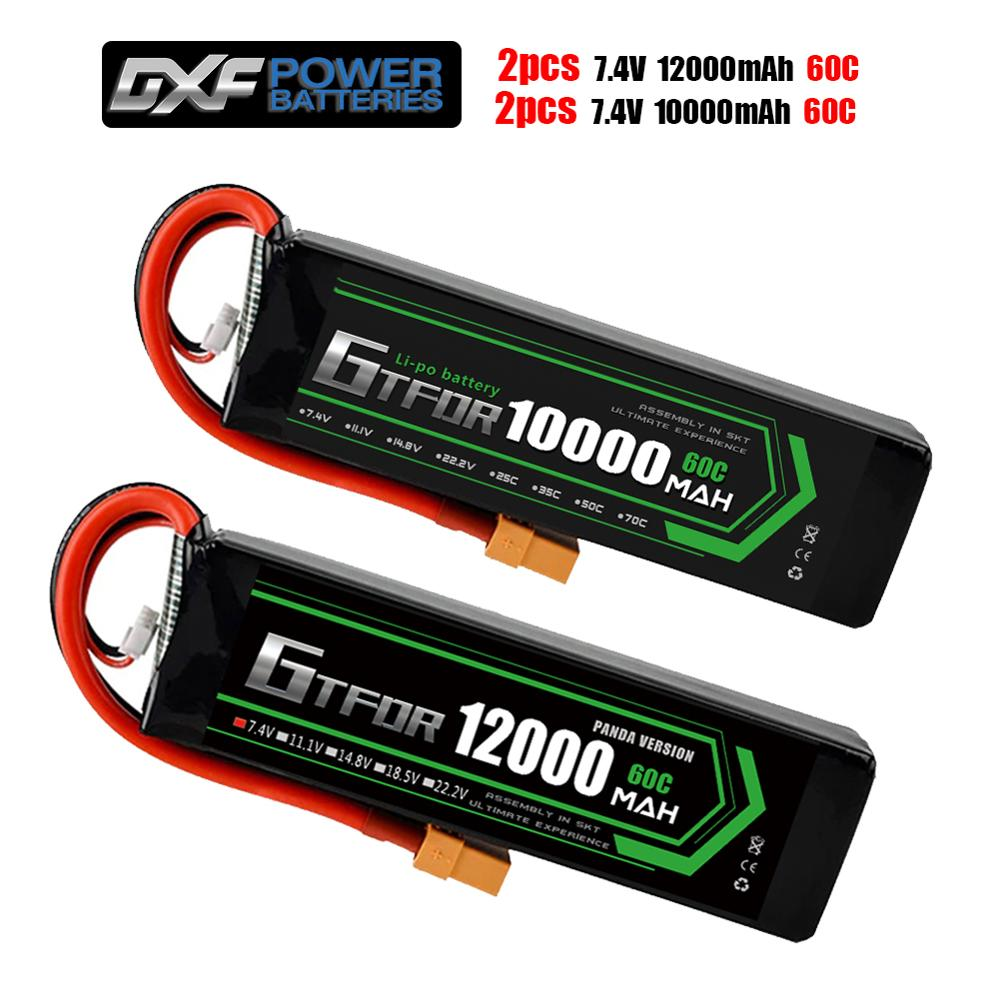 GTFDR Battery lipo 2S 7.4V 10000mah 60C /2S lipo 7.4V 12000mah 60C 120C HV for rc Car drone FPV Walkera QR X350 PRO Quadcopter image