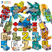 Transformation Robot Digital Number Math Symbol Tank Humvee Model Combination Building Block Early Learning Toys blocks(China)