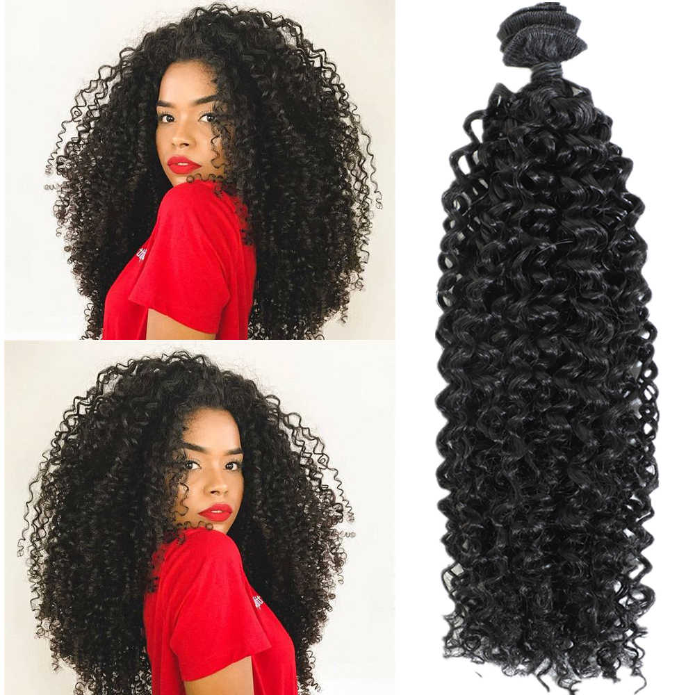 "Synthetic Afro Kinky Curly Hair Extensions Heat Resistant Kinky Curly Synthetic Hair Weaves 22"" Curly Hair Bundles Natural Black"