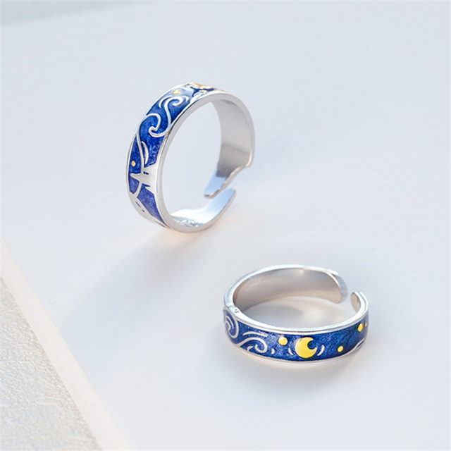 Moon Star Starry Night Van Gogh Adjustable Rings For Couple Lover's 925 Silver  4